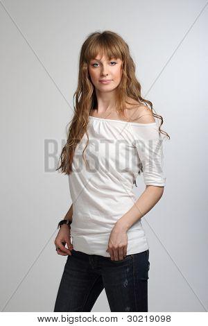 Smiling Girl Posing In White T-shirt