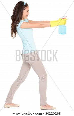 Cleaning Woman Fun Isolated