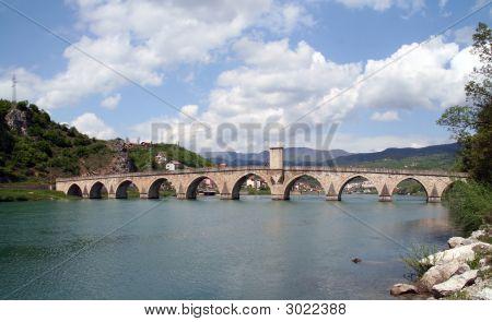 Old Ottoman Stone Bridge Over River Drina