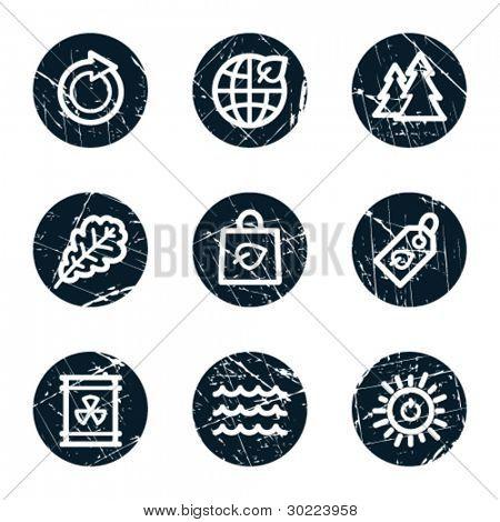 Ecology web icons set 3, grunge circle buttons
