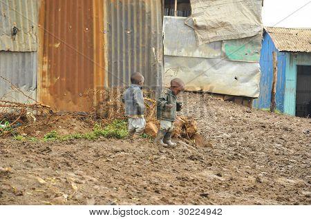 Young poor children Nairobi Kenya