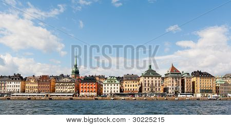 Colorful Houses Of Stockholm Viewed From The Water