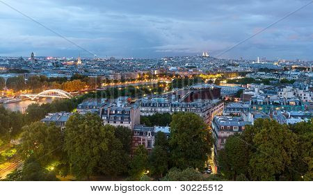 Dusk View Over Paris From Eiffel Tower