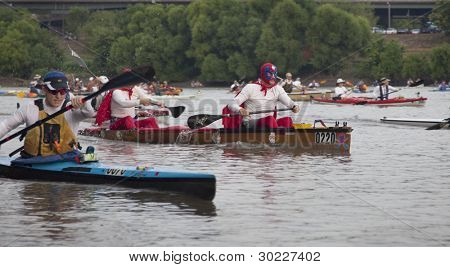 KANSAS CITY, KS - AUGUST 24: Kayaks and canoes at the start of 5th Missouri River 340 Race, August 24, 2010, at Kaw Point (confluence of Missouri and Kansas Rivers) in Kansas City, KS