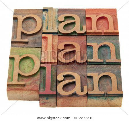 plan word abstract in vintage wooden letterpress printing blocks, stained by color inks, isolated on white