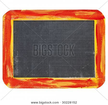 blank sign - a small slate blackboard in a rough red and yellow wood frame isolated on white