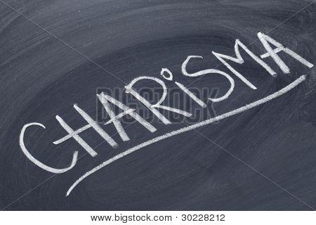 charisma word in white chalk handwriting on blackboard