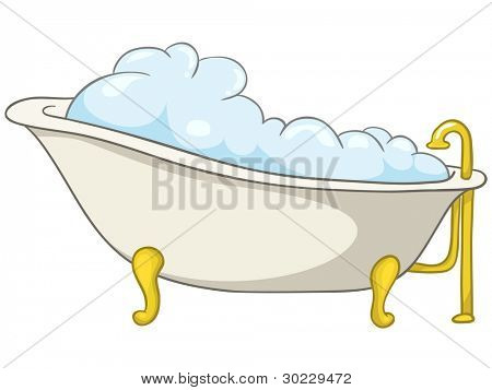Cartoon Home Washroom Tub Isolated on White Background. Vector.