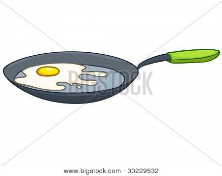 Cartoon Home Kitchen Pan Isolated on White Background. Vector.
