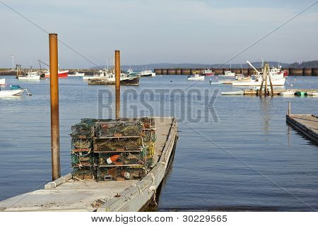 Lobster Traps Stacked On Dock