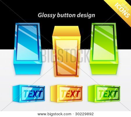 Color glossy rectangle toggle switchers in three colors - blue, orange, green