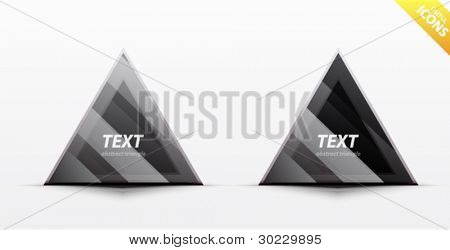 Business black triangle icon set - light glossy translucent surface