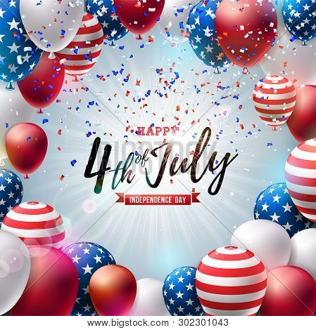 poster of 4th Of July Independence Day Of The Usa Vector Illustration. Fourth Of July American National Celebr