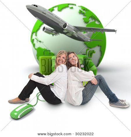 A pair of female friends with an online international travel booking background