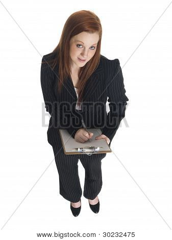 Businesswoman - Looking Up Clipboard