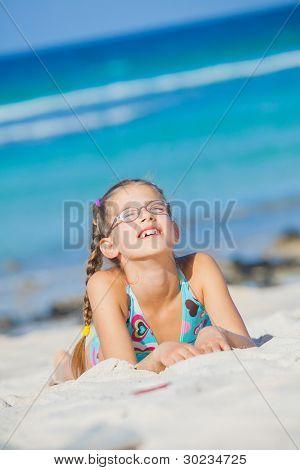 Adorable girl on the beach