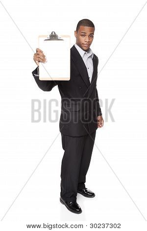 African American Businessman Isolated On White Holding Clipboard