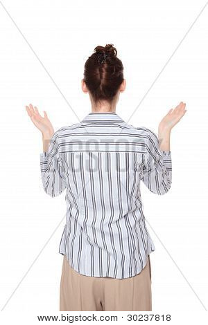 Disbelief - Caucasian Woman Looking Up With Arms Raised