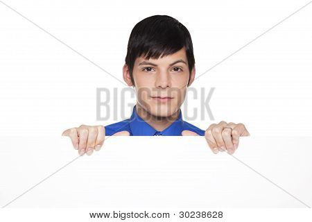 Caucasian Businessman Holding Blank Placard Sign