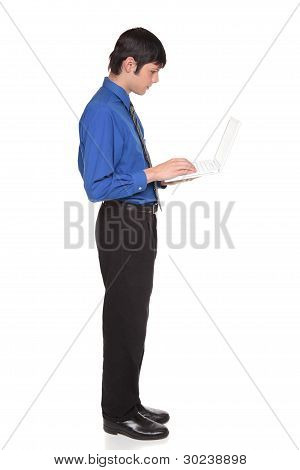Laptop Computer - Businessman Standing And Typing