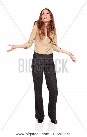 Businesswoman - Looking Up In Disbelief