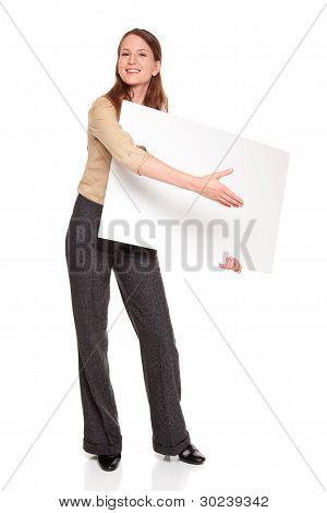 geschäftsfrau händedruck blank sign