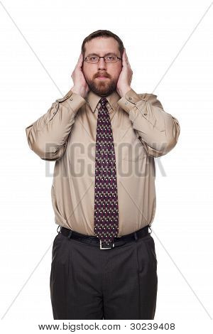 Businessman On White Background In Hear No Evil Pose