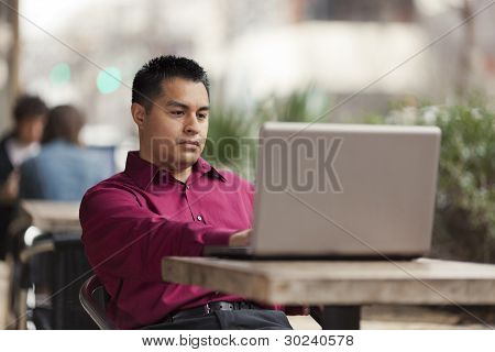 Hispanic Businessman - Cafe Laptop Working