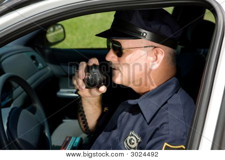 Police Officer On Radio