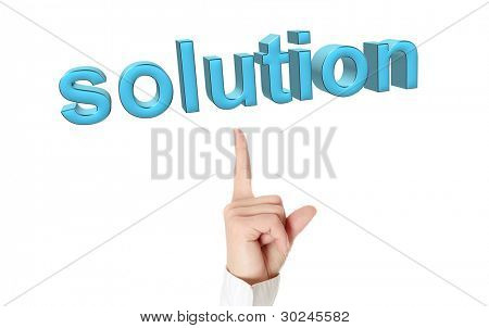 Solution concept. Businesswoman hand pointing on 3d word: solution