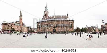 Raadhus turistas Copenhague Dinamarca Panorama