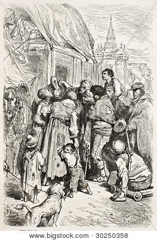 Stagecoach arrival in a inn, Santa Cruz de Mudela, Spain. Created by Gustave Dore, published on Le Tour Du Monde, Paris, 1867