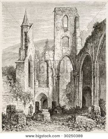 All Saints Abbey ruins (Kloster Allerheiligen), Black Forest, Germany. Created by Stroobant, published on Le Tour Du Monde, Paris, 1867