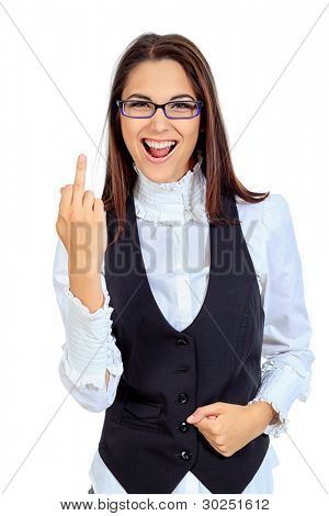 Emotional businesswoman posing in studio. Isolated over white background.