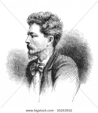 Sir Henry Morton Stanley (1841-1904) journalist and explorer famous for his exploration of Africa and his search for David Livingstone. Engraving by unknown artist from The Leisure Hour magazine, 1873