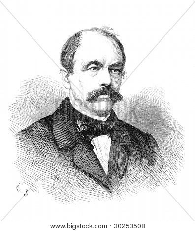 Otto von Bismarck (1815-1898) was a German statesman. Engraving by unknown artist (signed E.S.) from Ny Illustrerad Tidning 1866.