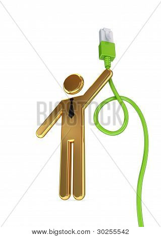 Golden 3d small person and patchcord.
