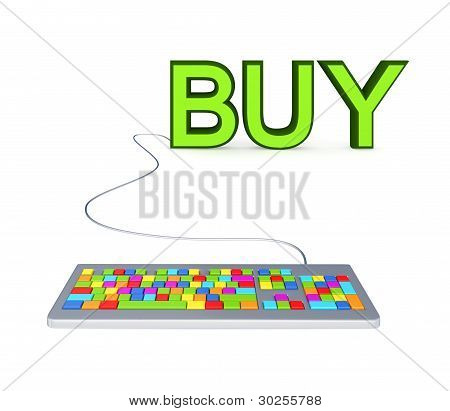 Colorful PC keyboard and big green word BUY