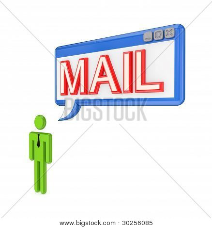 3d small person and OS window with word MAIL.