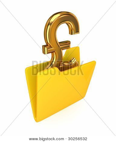 Yellow folder and pound sterling sign.