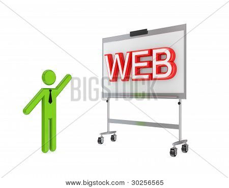3d small person with a flipchart and big word WEB.