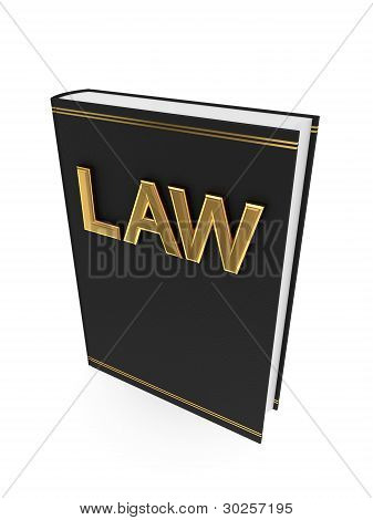 Black book with golden word LAW.