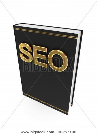 Black book with golden word SEO.