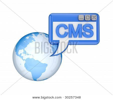 Earth and blue word CMS.