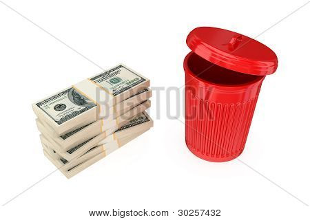 Big dollar's pack and dustbin.