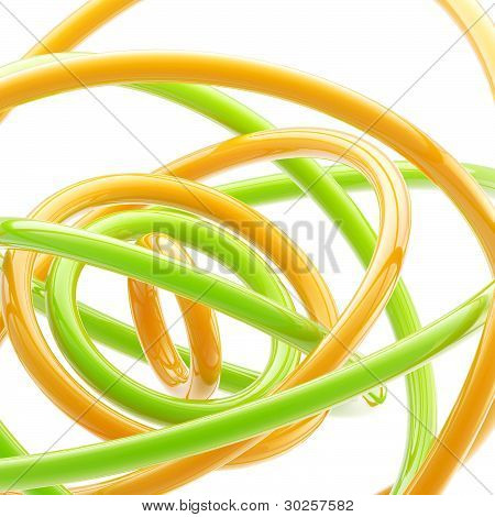 Abstract background made of plastic glossy rings