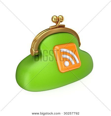 Green purse with RSS symbol.