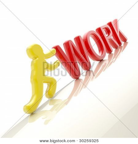 "Human figure pushing the word ""work"" uphill"
