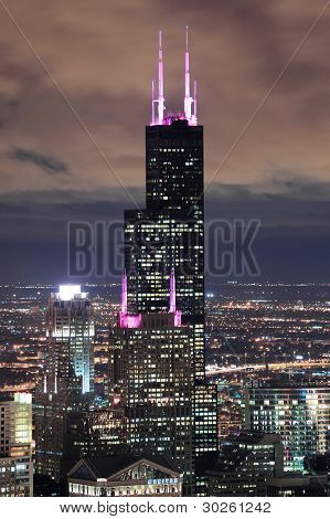 CHICAGO, IL - OCT 6: Willis tower close up on October 6, 2011 in Chicago, Illinois. Willis Tower know as the famous landmark is 1451 feet high as the world's tallest for 25 years since its completion.
