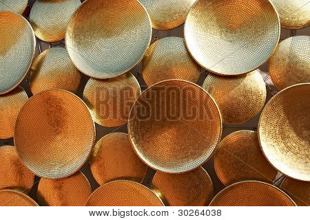 Background Of Golden Discs. The Architectural Detail.